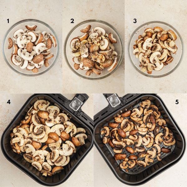 the process shot of how tocook mushrooms in the air fryer.
