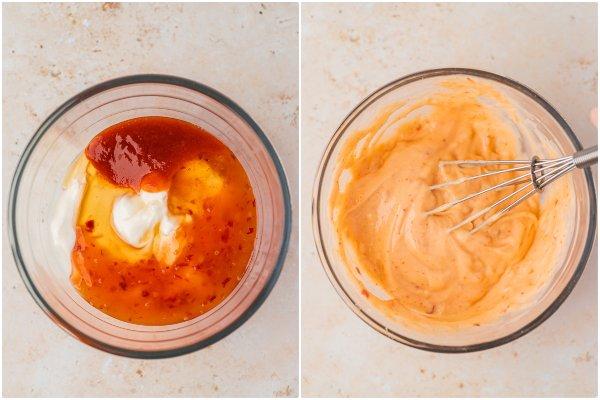 the process shot of making bang bang sauce.