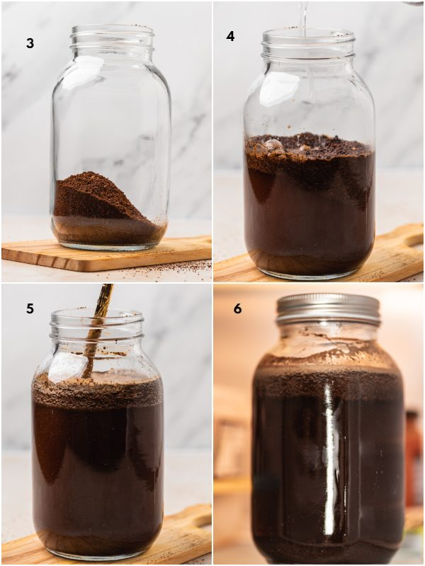 the process shot of how to make colad brew,