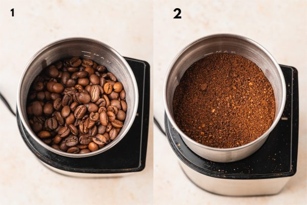the process shot of how to gring coffee beans.