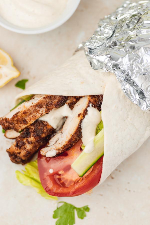 juicy and flavour chicken shawarma wrap.