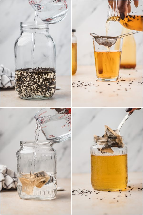 the process shot of making cold brew tea with loose leaf tea and teabags.