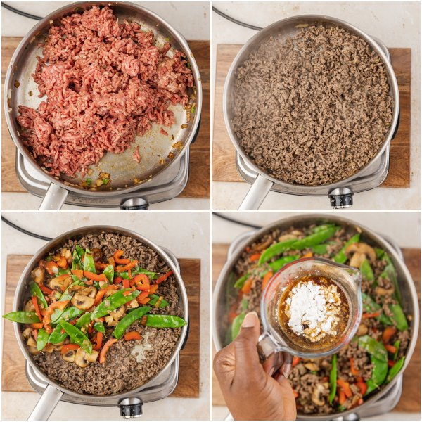 the process shot of cooking ground beef stir fry with veggies.