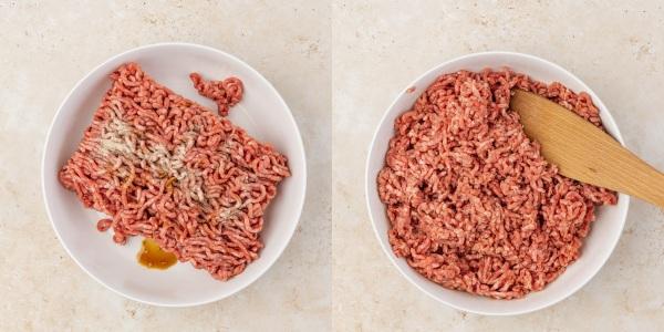 the process shot of seasoning mincedmeat.