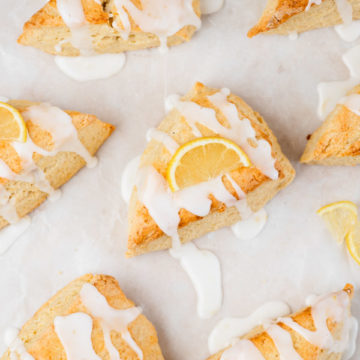 the overhead shot of lemon scones with icing glazing.
