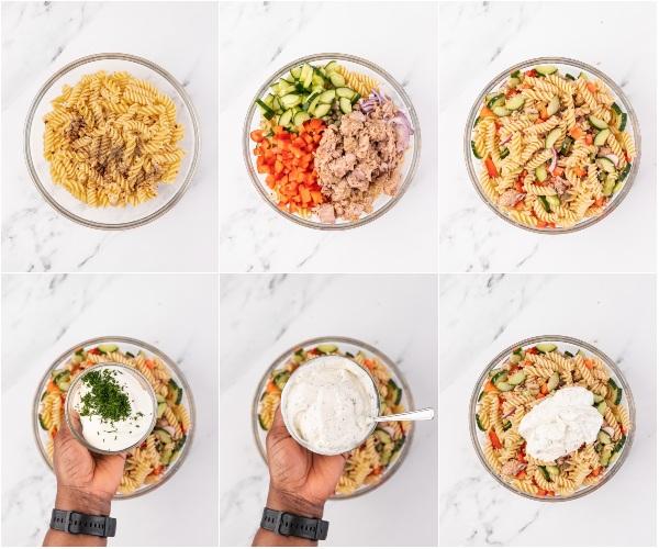 the process shot of making tuna pasta salad.