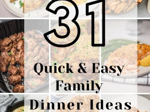 collage with 31 family dinner idea inscription.