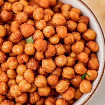 a bowl of crispy chickpeas.