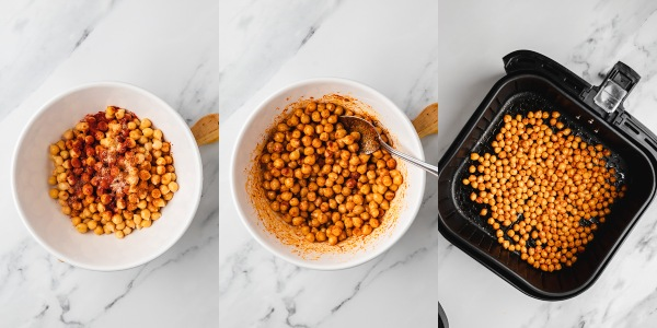 the process shot of how to make cook chickpeas in the air fryer.