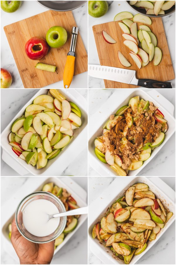 the process shot of making baked apple slices.