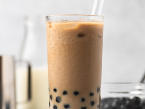 a glass of iced boba coffee.