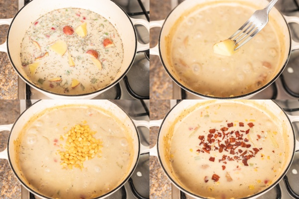the process shot of cooking chowder on the stove in a dutch pot.