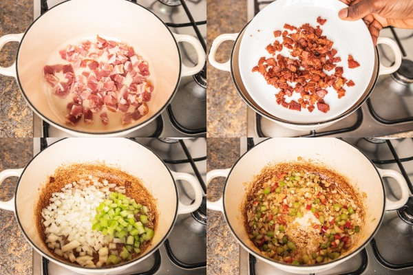 the process shot of making bacon bits and sauteeing veggies on the stovetop.