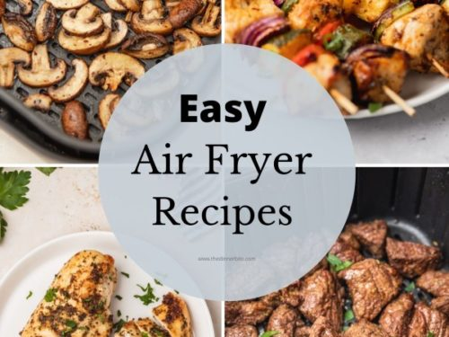 collage of for air fryer recipes for beginners.