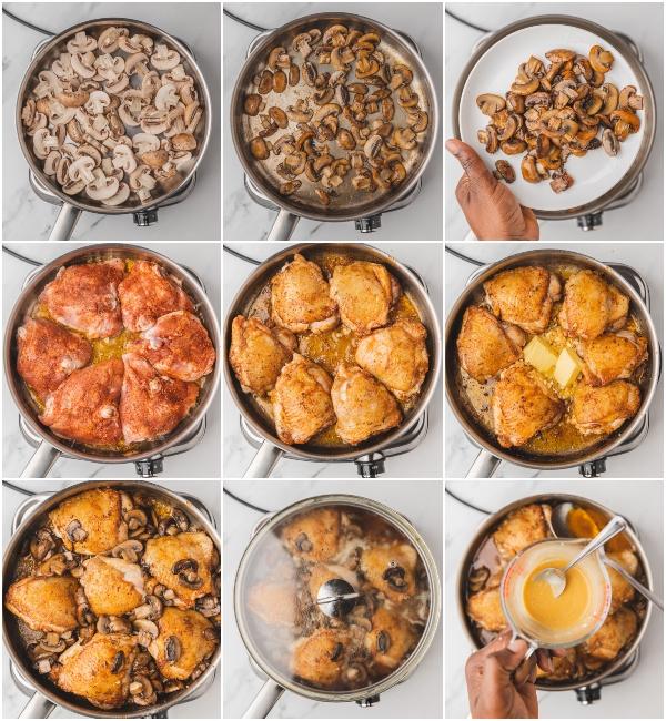 illustration of how to make garlic mushroom chicken thighs.