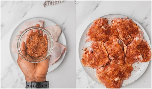 a hand holding a bowl of spice seasoning chicken thighs.