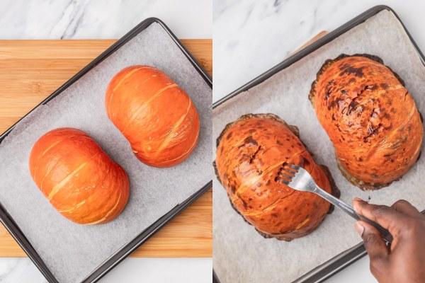 the process shot of roasting pumpkin in baking sheet.