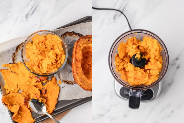 the process shot is pureeing cooked pumpkin in a food processor.